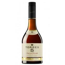 BRANDY TORRES 5La elaboracion de este brandy se realiza de forma tradicional por soleras las mas antiguas tienen 10 anos de ant