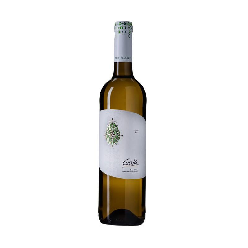El Vino Blanco Ecologico Gala esta elaborado con uva de la variedad 100 de verdejo por la Bodega Tres Pilares pertenece a la De