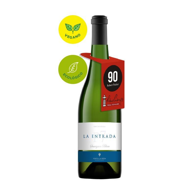 El Vino Blanco La Entrada Ecologico de Bodegas Venta La Vega y pertenece a la DO Almasa y posee una variedad de uva 100 Sauvign